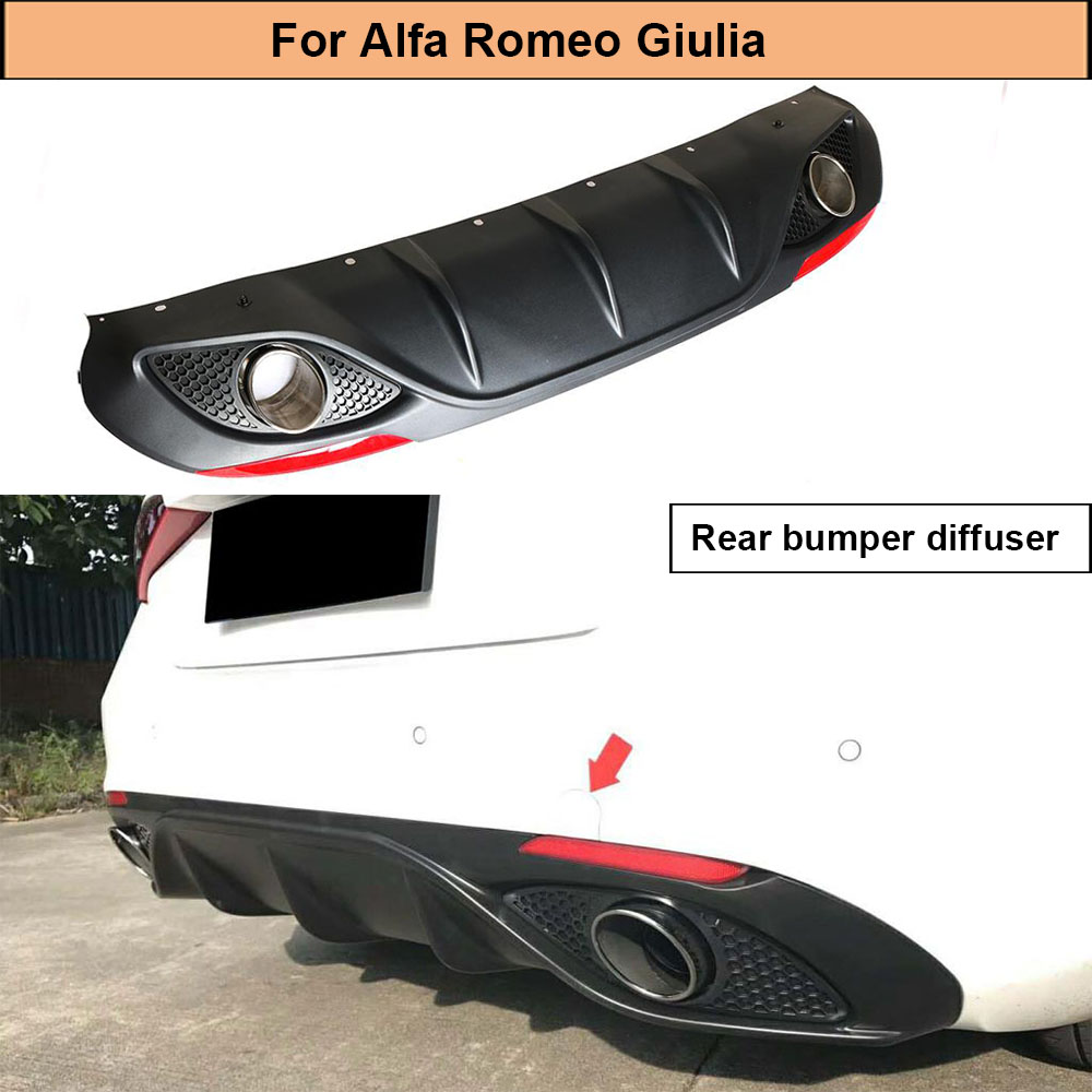 Car Rear Bumnper Diffuser Lip For Alfa Romeo Giulia Sedan 4 Door 2016 2017 Quadrifoglio <font><b>TI</b></font> Rear Diffuser Spoiler with Exhaust image