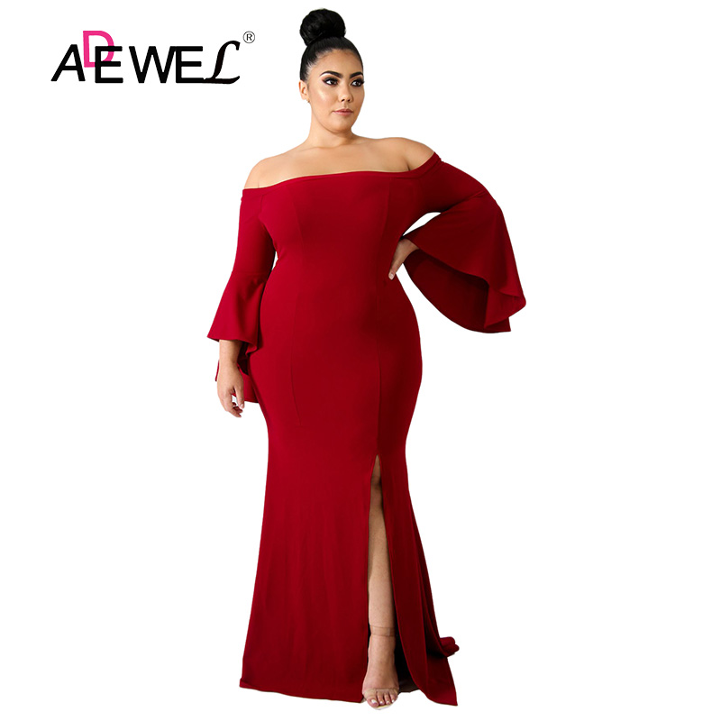 ADEWEL Sexy grande taille rouge épaule dénudée fête longue robe femmes grande taille haute Split mince soirée à manches longues longueur de plancher robe