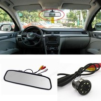4.3 Inch TFT LCD Rearview Mirror Car Monitor With 18mm 8 LED Night Vision Parking Rear View Camera Auto Parking Assistance