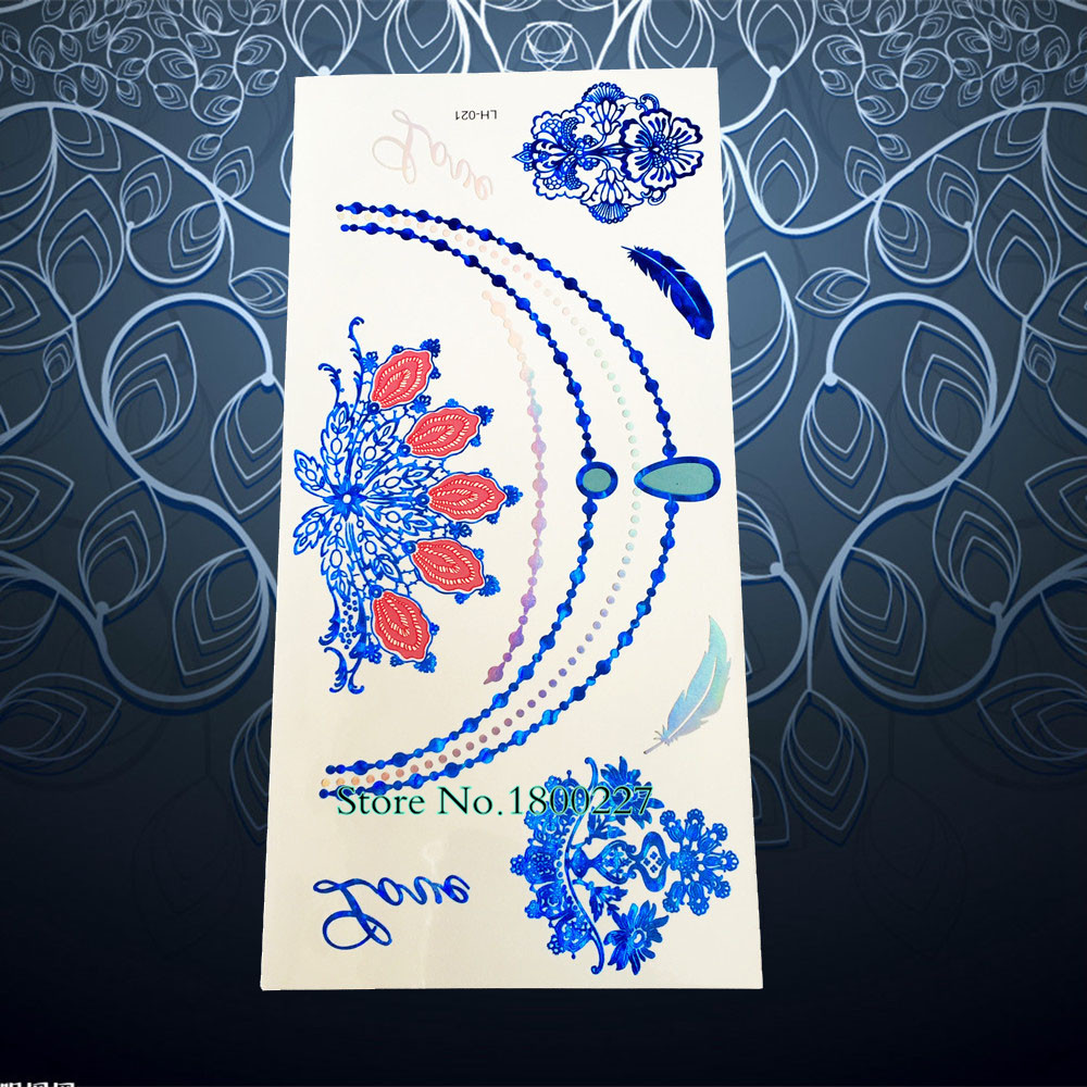 Blue Henna Tattoo: Fashion Blue Gem Diamonds Temporary Tattoo Henna Flower