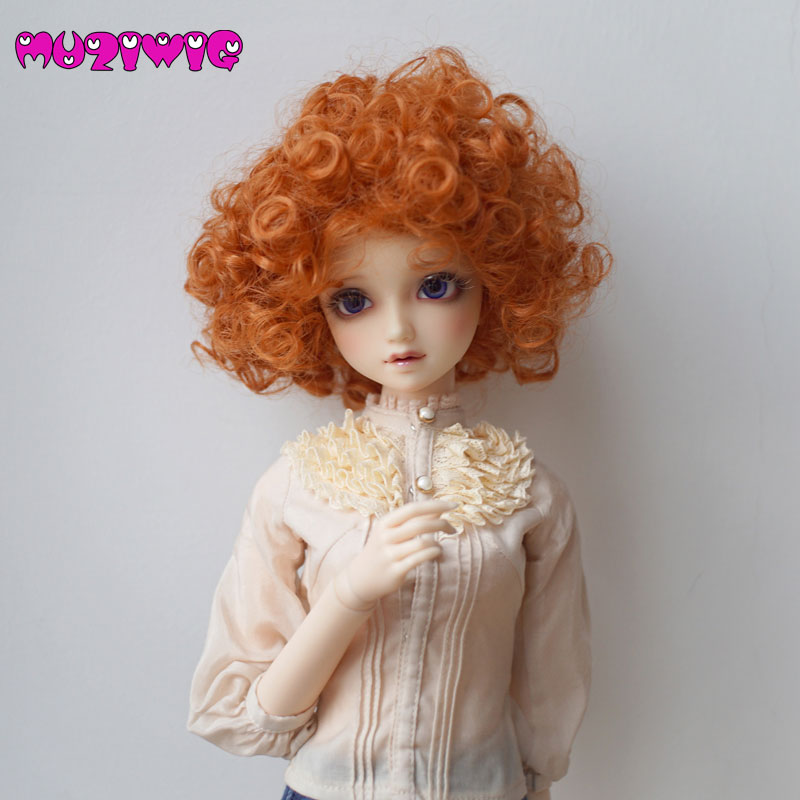 MUZIWIG High Temperature Fiber Synthetic Short Orange Red Fluffy Spiral Curly Hair Wig for 1/3 1/4 1/6 BJD SD Doll Accessories