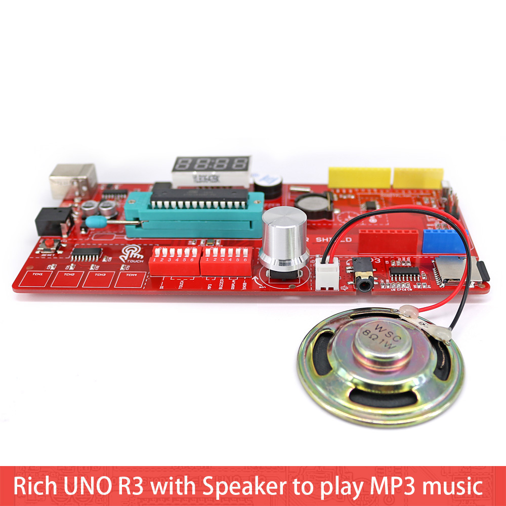 Image 5 - Rich UNO R3 Atmega328P Development Board Sensor Module Starter Kit for Arduino with IO Shield MP3 DS1307 RTC Temperature Sensor-in Industrial Computer & Accessories from Computer & Office