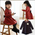 Retail wholesale Korean girls dress DOT BOW  winter autumn fall for toddler little girl cheap