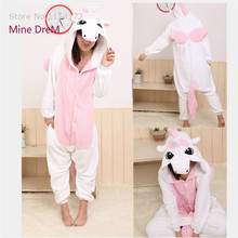 Купить с кэшбэком Kigurumi Pink unicorn Cartoon Animal  onesies Pajamas costume cosplay Pyjamas Adult Onesies  party dress  Halloween pijamas