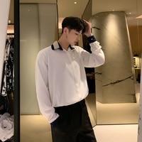 Men White Shirts Fashion Long Sleeve Casual Shirt Male Streetwear Stage Show Party Nightclub Loose Dress Shirts