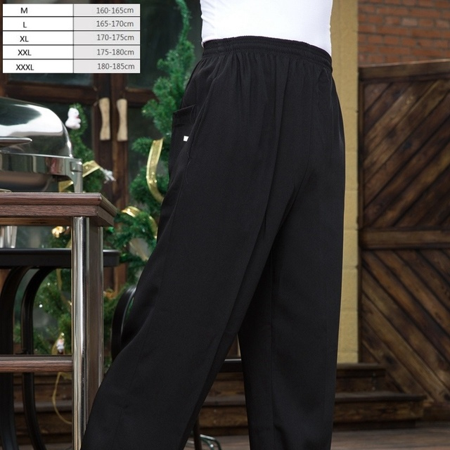 kitchen pants small with dining table 1pc the waiter chef work chief black slacks overalls master trousers for men and