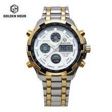 2017 Fashion Watches Men Luxury Brand Gold Silver Golden Watches Men Sports Quartz-watch Dual Time Relogio Masculino Esportivo