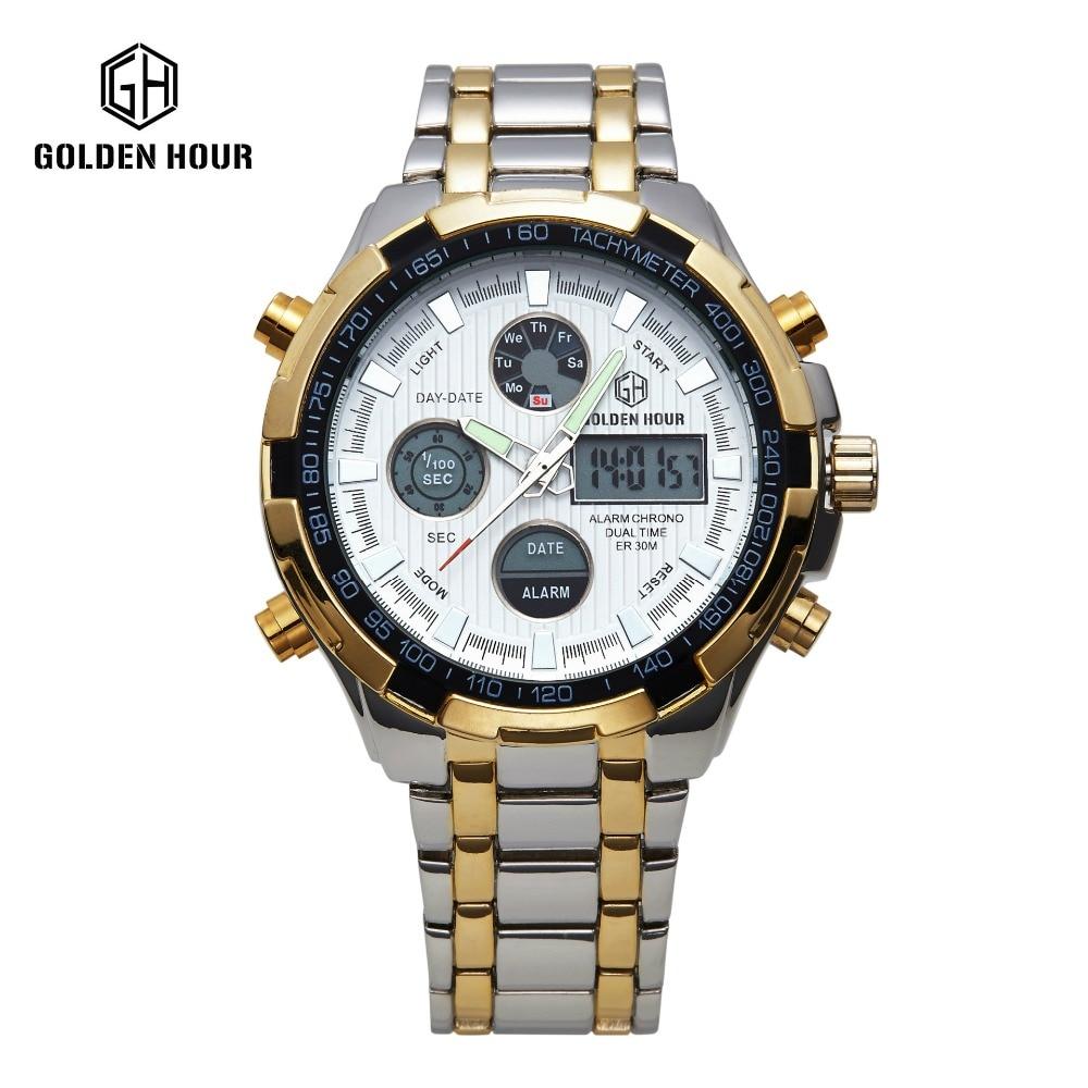 Hot Stainless Steel golden Watch Men Shark watch Analog Digital Alarm Display 3 ATM Water Resistant