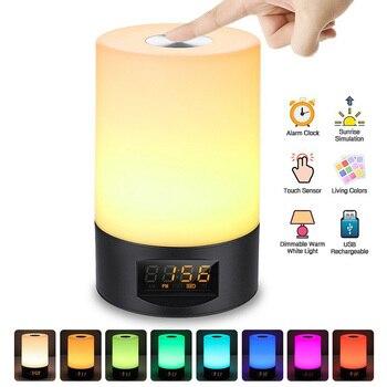 RGB twórczy czujnik dotykowy LED budzik muzyka zegar lampka nocna z USB ładowania lampka nocna lampa stołowa sypialnia dekoracji prezent dla dzieci