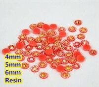 Naranja jalea AB color girasol 4mm, 5mm, 6mm facetas Flat back resina rhinestone Manicura GEMS decoración, rhinestones de prendas