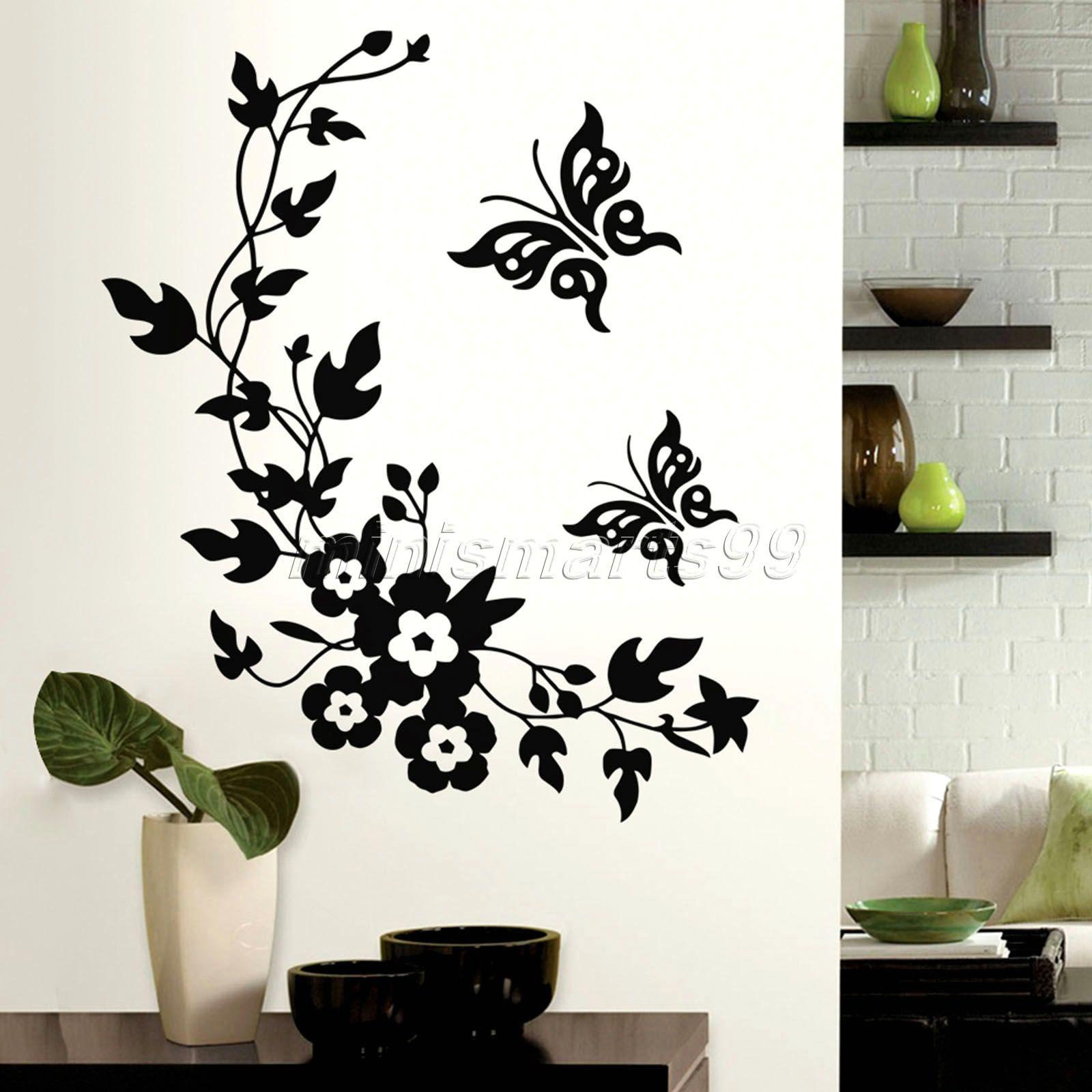 butterflies flowers animals stack wall stickers decal kids adhesive vinyl wallpaper mural baby girl boy room: zones bedroom wallpaper