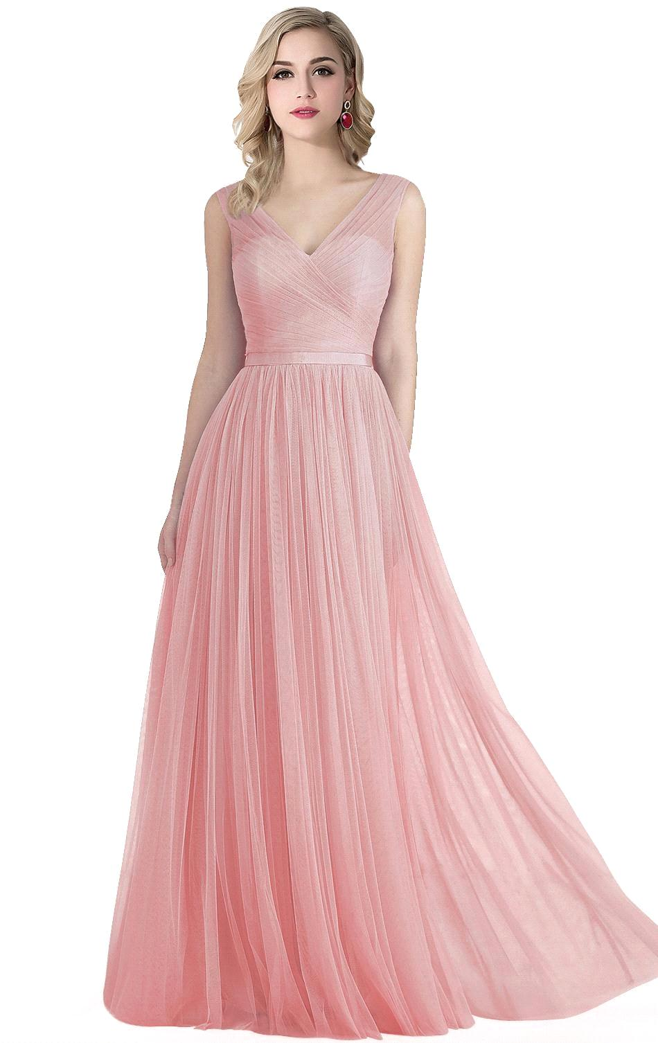 Cheap pink deep v neck mint green long bridesmaid dresses 2017 cheap pink deep v neck mint green long bridesmaid dresses 2017 floor length soft tulle vestido de festa prom party gown in bridesmaid dresses from weddings ombrellifo Image collections