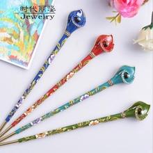 цена на Retro Women Cloisonne Crystal Wedding Hair Sticks Enamel Metal Bride Hair Ornaments Chinese Traditional Hair Jewelry Accessories