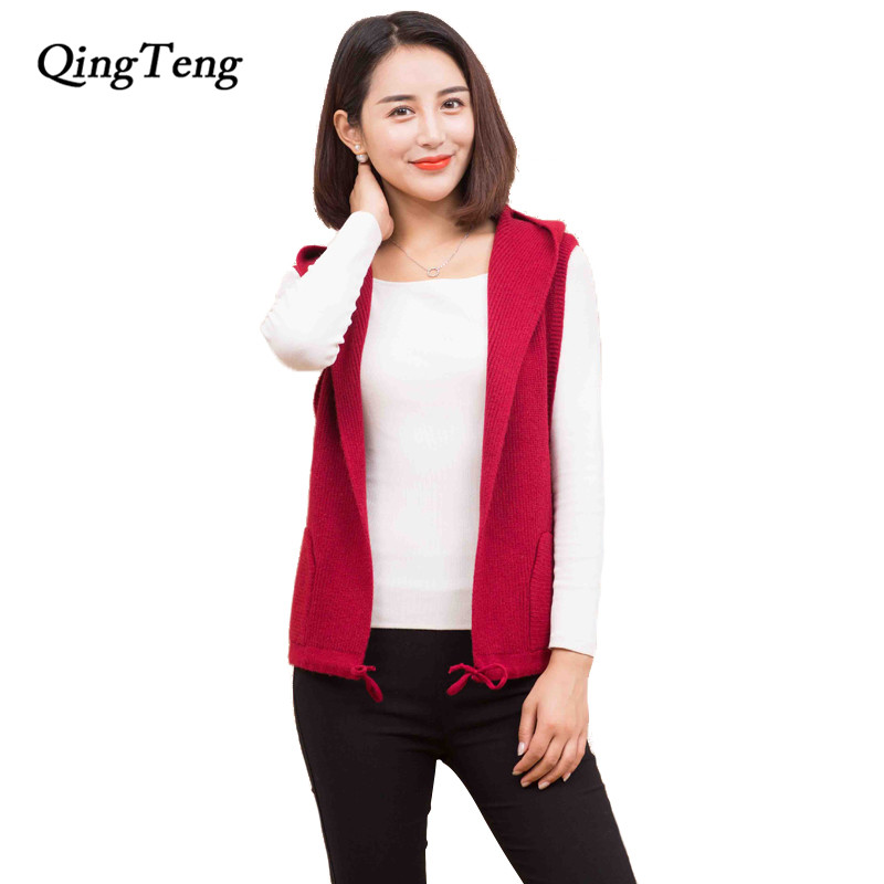 Women Plush Vest Casual Hooded Neck Sleeveless Solid Loose Long Cardigan Vest