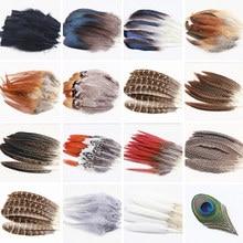 15 шт. высокого качества красивые натуральные перья павлина фазан перья, пух, ювелирное изделие, рождественские украшения праздника опционально