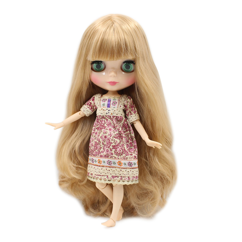 Free shipping blyth doll icy licca body BL3227 2240 golden orange MIX hair natural skin joint