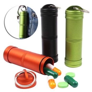 Survival Case Container Outdoor Holder Emergency First Aid Survival Pill Tank Aluminium Alloy Safety first aid Tool 2