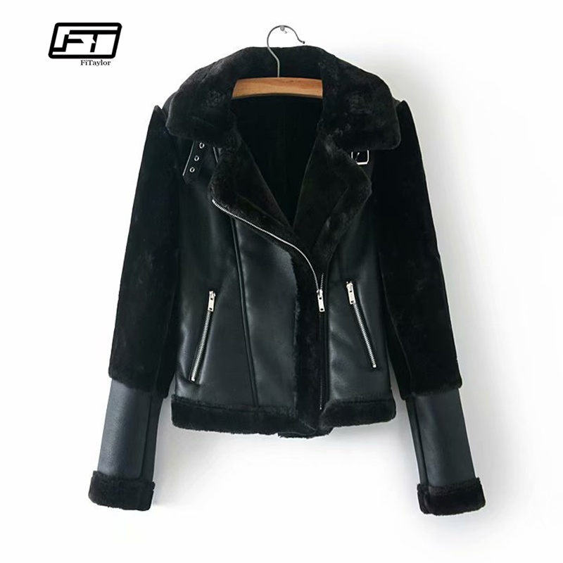 Fitaylor Winter Women Faux Lamb Leather Jacket Warm Thick Black Punk Faux Leather Lambs Wool Fur Collar Female Suede Jacket Coat
