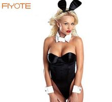 Sexy Lingerie Cosplay Costume Women Classy Bunny Costume for Role Playset Bodysuit Sex Apparel Strapless Headband+Dress LC8272
