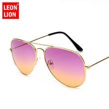 Leonlion 2021 cores duplas gradiente óculos de sol feminino liga espelho senhora retro metal óculos lunette soleil femme