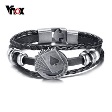 Vnox 럭키 빈티지 남자 가죽 팔찌 카드 놀이 Raja Vegas Charm Multilayer Braided Pulseira Masculina 7.87 ""