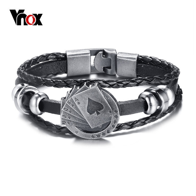 Vnox Vintage Men's Braided Leather Bracelet