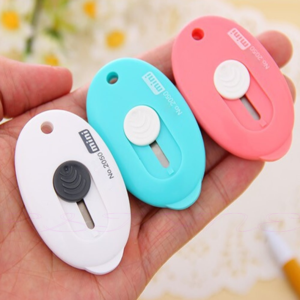New Random Color Mini Utility Knife Box Cutter Retractable Razor Blade DIY Tool-scissors Knife