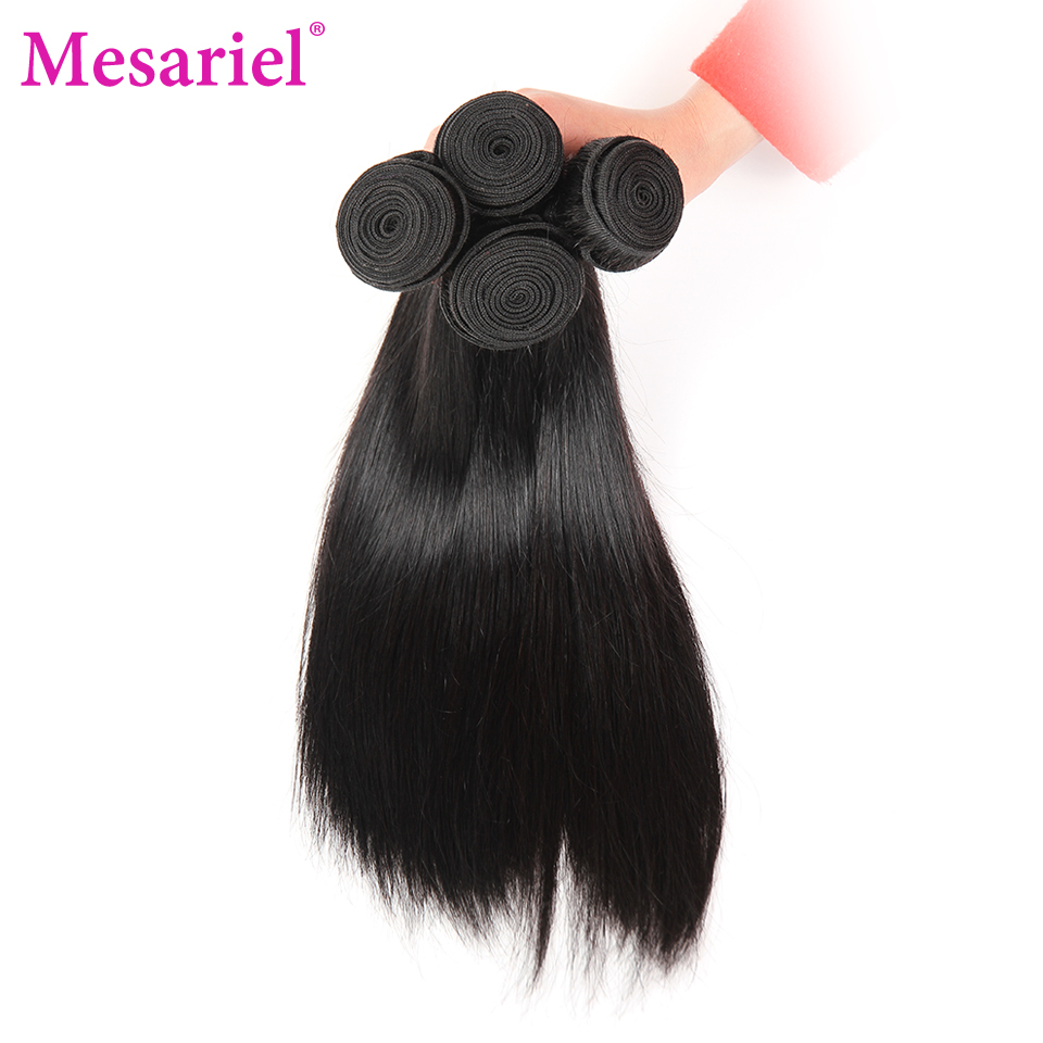 Mesariel Brazilian Straight Hair Bundles Non Remy Hair Free Shipping Natural Black Color 100 Human Hair