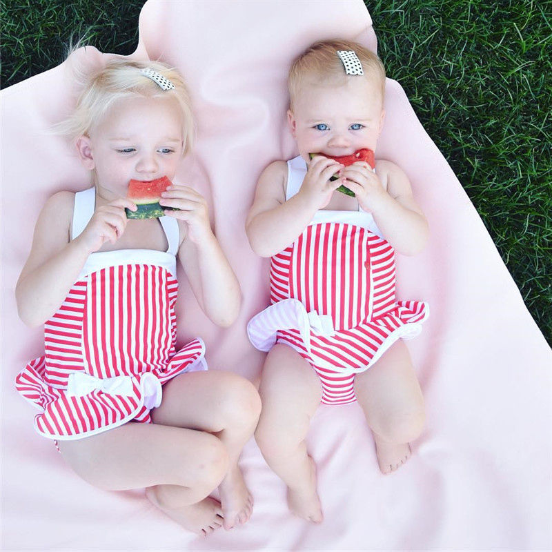 Fashion Kids Baby Girls Bikini Striped Halter Bow Swimwear Swimsuit Bathing Suit Beachwear 2018 Summer New
