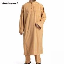 2 Piece Set Abaya Muslim Top And Pant Arabic Islam Clothing Plus Size 3XL Pakistan Saudi Arabia Men Arab Musulman Shirt Trousers