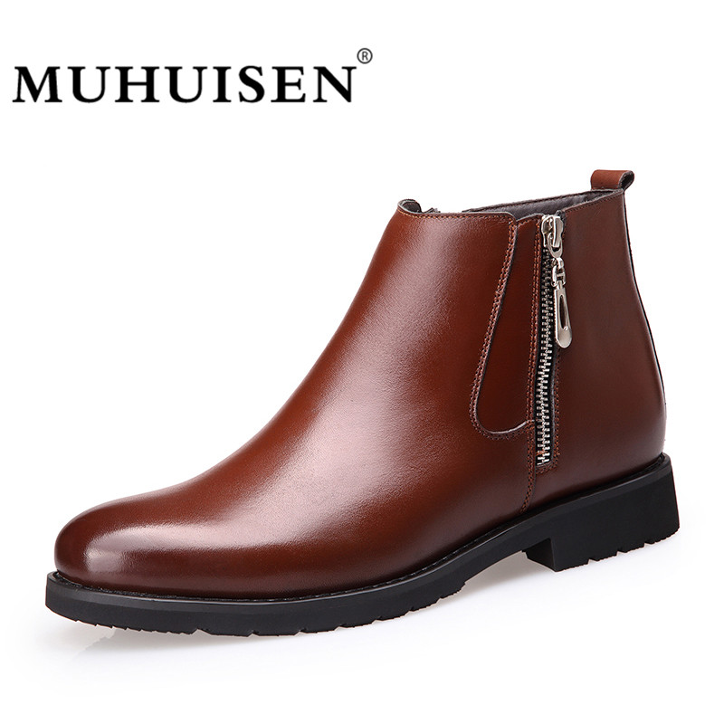 MUHUISEN Autumn Winter Fashion Men Ankle Boots Warm Plush Comfortable Zipper Brand Casual Shoes Genuine Leather Snow Boots muhuisen brand winter men genuine leather shoes fashion warm working plush ankle boots casual lace up flats male snow boots