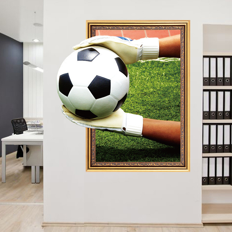 Football Soccer 3d effect wall stickers for kids rooms living room bedroom wall decals boys room decoration gift ...