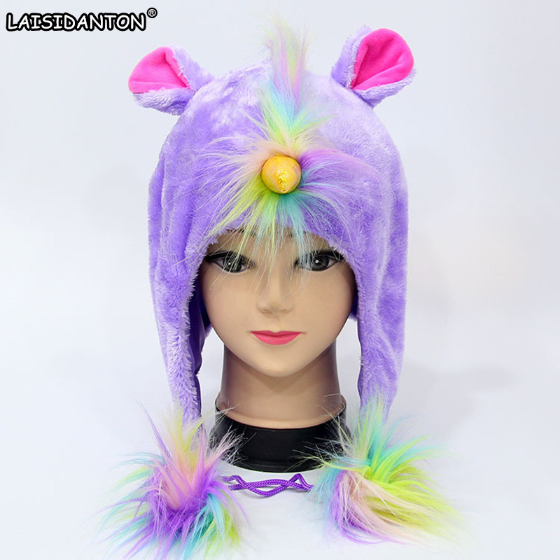 LAISIDANTON New Arrival Colorful Rainbow Unicorn Plush Hat Women Cute Cartoon Animal Cosplay Caps Mask Beanie With Fur 4colors hot sale cute cartoon animal hats one piece chopper plush cosplay hat after pink color plush soft caps earmuff
