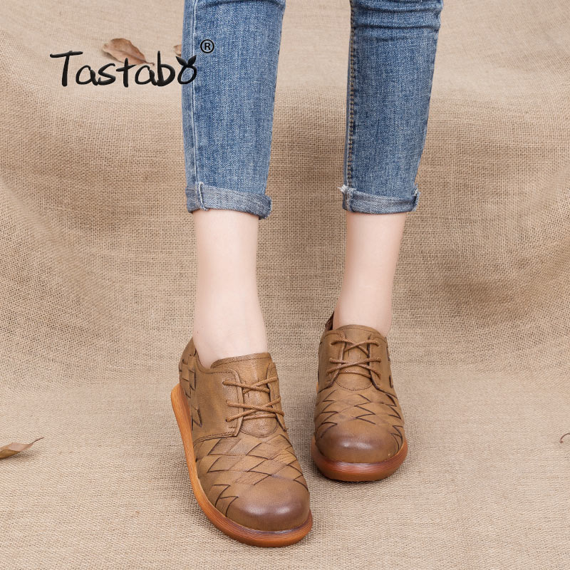 Tastabo women lace up shoes retro handmade shoes Genuine leather shoes Casual pump shoes platform wedges
