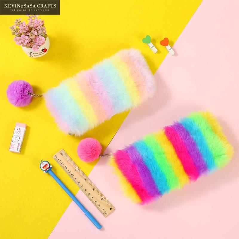 Rainbow Plush Pencil Case Quality School Supplies Bts Stationery Gift Pencilcase School Cute Pencil Box School Tools Gifts