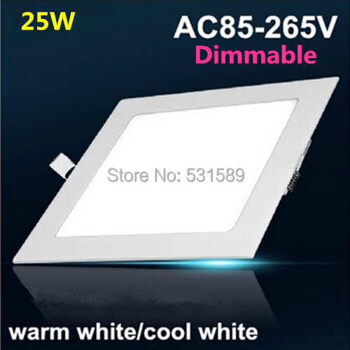 Free shipping Dimmable Led Panel Light 25W Square Shape With Power Adapter AC85 265V Ulthra thin