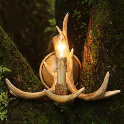 ФОТО 2017 new creative vintage antlers wall lamp manual decoration elegant wood light free shipping