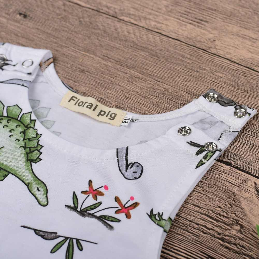 2ad5b88d895 ... Summer Jumpsuit Tiny Cottons Dinosaur White Onesie Sleeveless Unisex Rompers  Baby Girl Toddler Kid Newborn Girls ...
