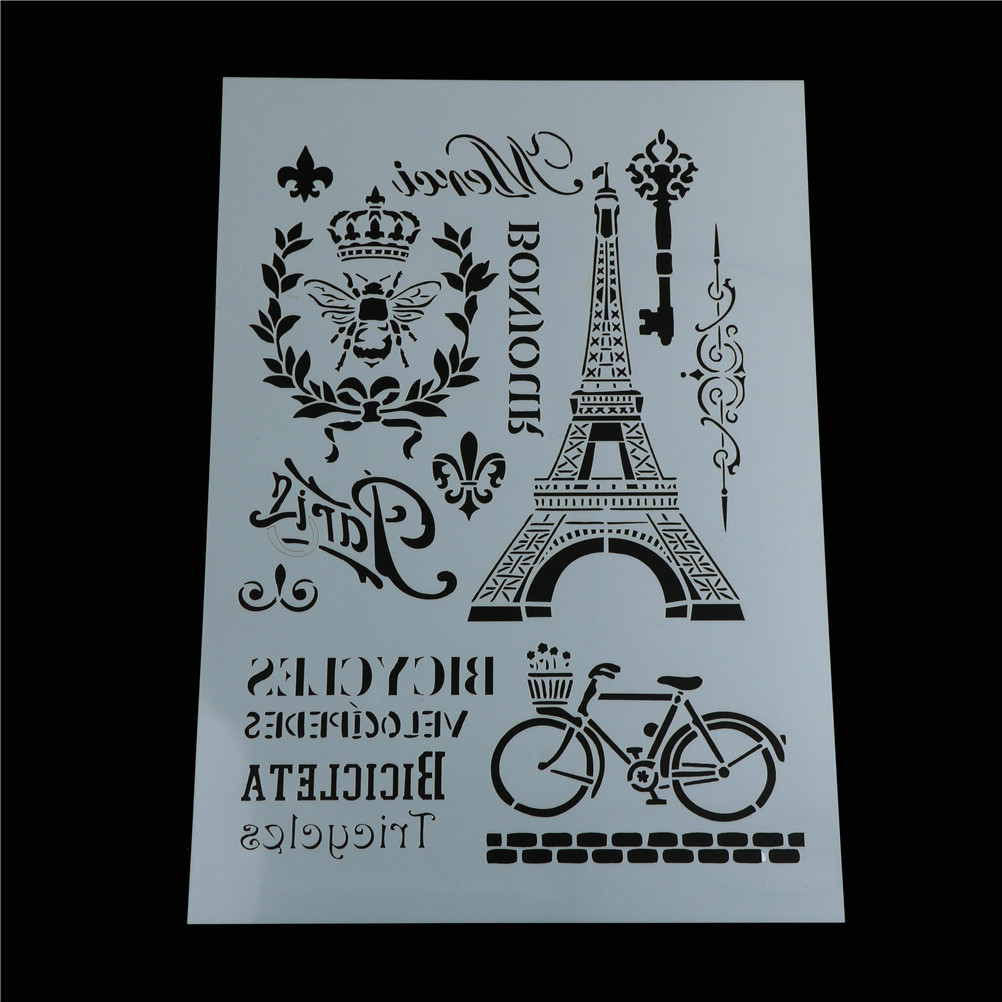 DIY Craft Layering Stencils For Walls Painting Scrapbooking Stamp Album Decor Embossing Eiffel Tower Bike Paper Card Template