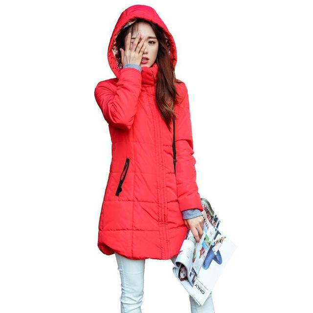 Autumn winter jacket Women Thick Hooded Cotton-Padded Jacket Plus size Candy color Slim Down Cotton coat Female Parka 6XL