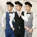Latest design style men waistcoat custom made men's wedding tuxedos vest solid color slim fit groom prom dress vest