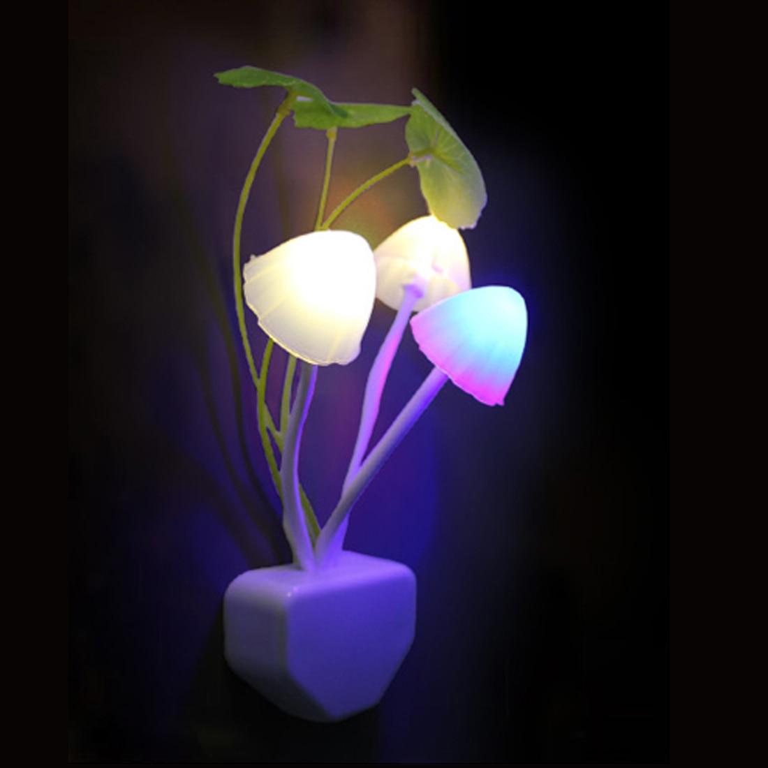 Novelty Mushroom Fungus Night Light EU & US Plug Light Sensor 220V 3 LED Colorful Mushroom Lamp Led Night Lights