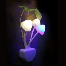 Novedad hongo seta luz nocturna EU & Estados Unidos enchufe la luz Sensor 220V 3 LED lámpara de setas coloridas luces de noche Led