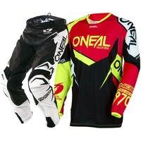 NOWY Oneal 2018 MX Hardwear Przepływu-Prawda Czerwony Hi-viz Jersey Spodnie MTB DH Motocross Racing Konna Combo Off-Road Biegów Zestaw