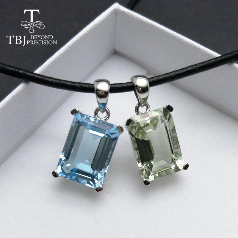 TBJ, naturel bleu ciel topaze vert améthyste pendentif en argent sterling 925 bijoux classiques pour les femmes 2 couleurs sélectionnez cadeau