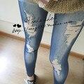Caliente 2016 Mujeres del otoño Sexy Lady Jeans Flaco Jeggings seamless impresión stretch leggings vaqueros de imitación Denim Legging DD04