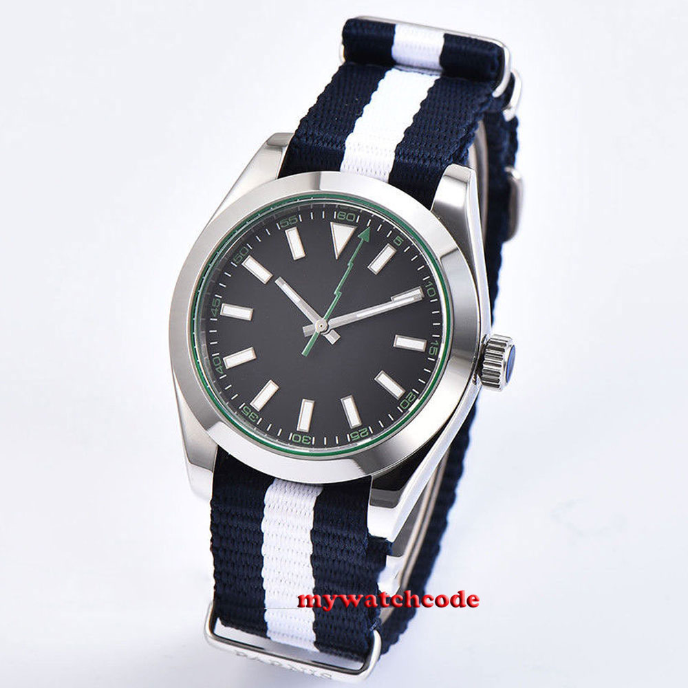 polished 40mm parnis black dial sapphire glass 316L steel automatic mens watchpolished 40mm parnis black dial sapphire glass 316L steel automatic mens watch