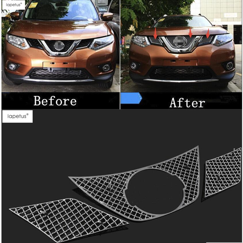 Lapetus Accessories For Nissan X-Trail X Trail T32 Rogue 2014 - 2016 Honeycomb Style Front Face Grille Grill Net Cover Kit Trim