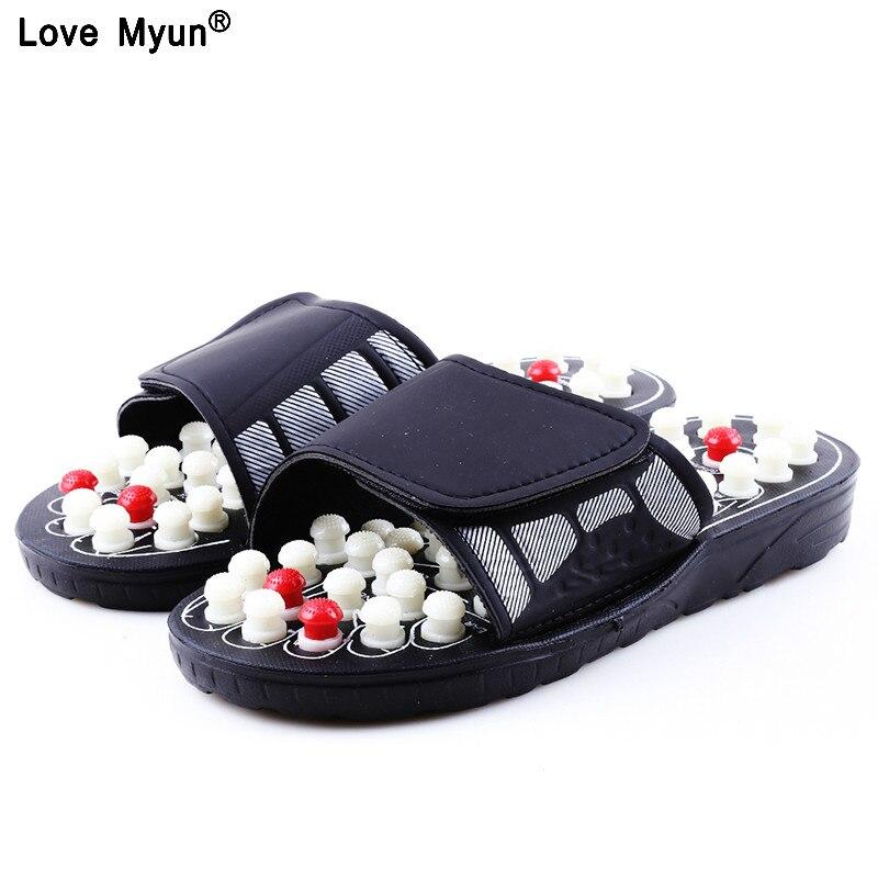 Acupuntura masaje zapatillas Sandalias para hombres pies acupresión China terapia pie giratorio masajeador Unisex 258