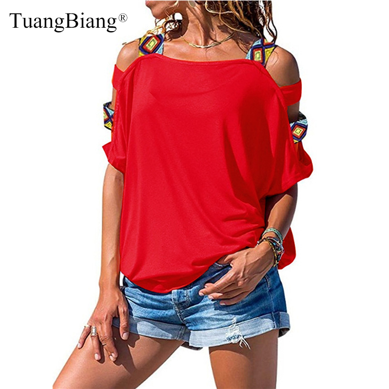 Summer Women Short Sleeve Off Shoulder T Shirts 2019 Patchwork Slash Neck Plus Size Tees Ladies Sexy Basic Hollow Out T-shirts